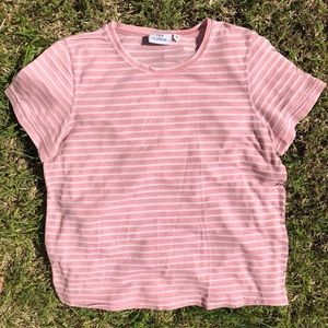 Tops - Hot cotton pink striped crop top